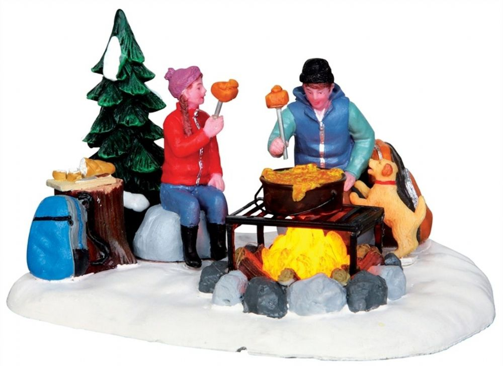 Lemax Vail Village Campfire Fondue Lighted Table Accent 34625